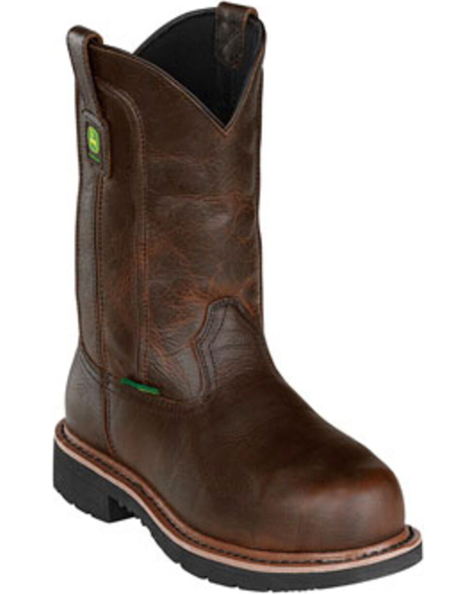 "John Deere® Men's 11"" Pull-On Steel Toe Met Guard Work Boots, Dark Brown, hi-res"