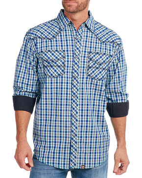 Cowboy Up Men's Check Patterned Long Sleeve Shirt, Blue, hi-res