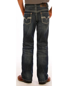 "Rock & Roll Cowboy Boys' Double ""V"" Embroidered Jeans - Boot Cut , Indigo, hi-res"