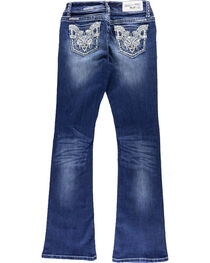 Grace In LA Girls' Embroidered Rhinestone Boot Cut Jeans, , hi-res