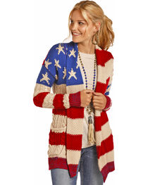 Rock & Roll Cowgirl Women's American Flag Knit Cardigan , , hi-res