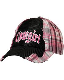 "Pink Plaid & Black Mesh ""Cowgirl"" Hat, , hi-res"