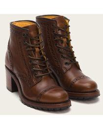Frye Women's Cognac Sabrina Brogue Boots - Round Toe , , hi-res