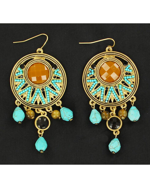 Blazin Roxx Gold and Turquoise Chandelier Earrings, Multi, hi-res