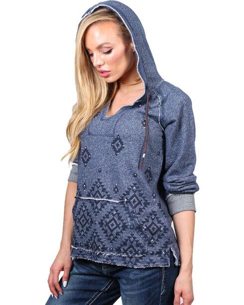 Shyanne® Women's Aztec Printed Hoodie, Indigo, hi-res