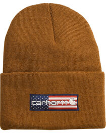 Carhartt Men's Brown Flag Patch Acrylic Watch Hat , , hi-res