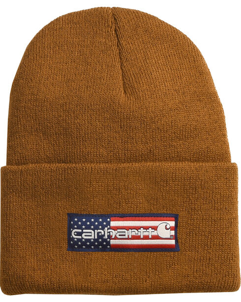 Carhartt Men's Brown Flag Patch Acrylic Watch Hat , Brown, hi-res