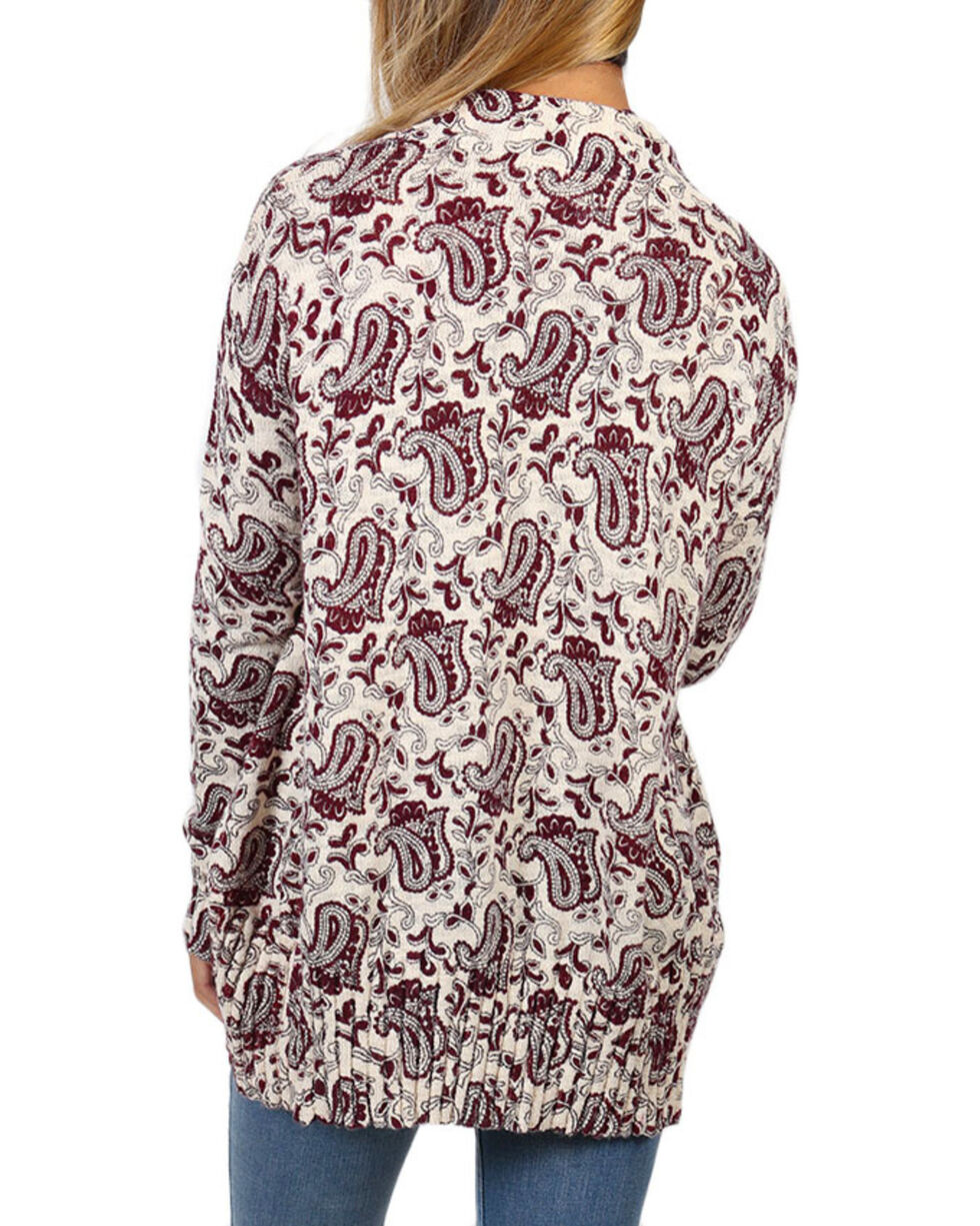 Shyanne® Women's Paisley Printed Open Cardigan, Ivory, hi-res