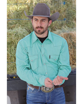 Cinch Men's Modern Fit Printed Plain Weave Western Snap Shirt, Green, hi-res