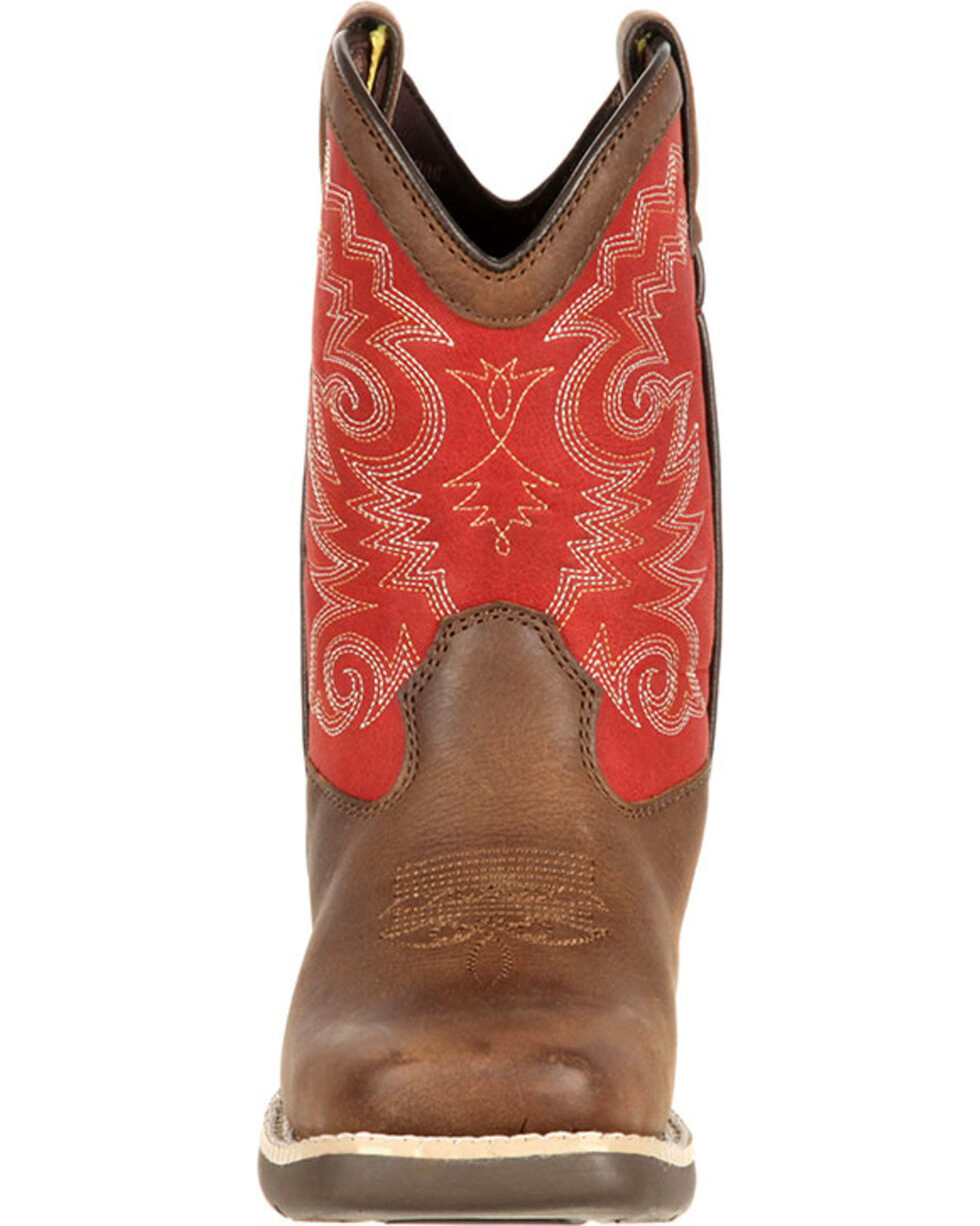 Lil' Durango Boys' Stockman Western Boots - Square Toe, Brown, hi-res