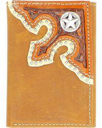 Nocona Corner Overlay with Star Concho Tri-Fold Wallet, , hi-res
