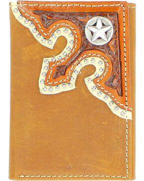 Nocona Corner Overlay with Star Concho Tri-Fold Wallet, Brown, hi-res