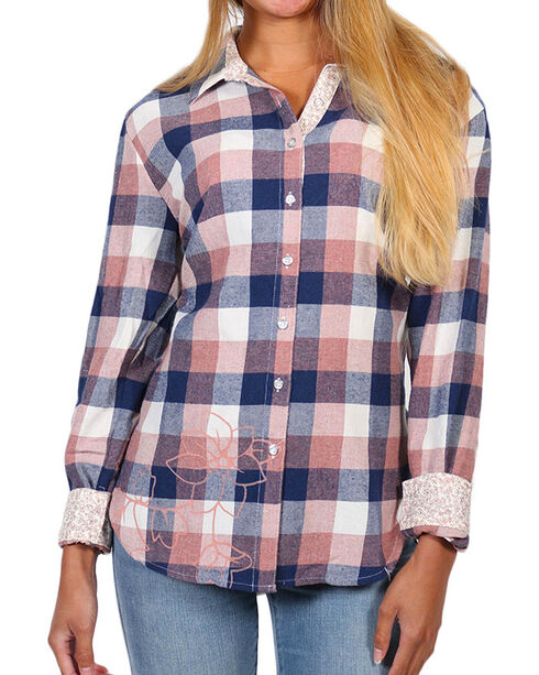 White Crow Women's Floral Plaid Long Sleeve Shirt, Pink, hi-res