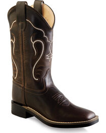 Old West Boys' Distressed Brown Cowboy Boots - Square Toe , , hi-res