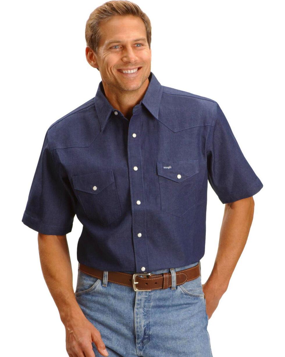 Wrangler Men's Cowboy Cut Short Sleeve Shirt, Indigo, hi-res