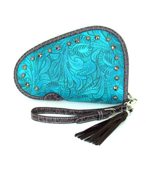 Savana Women's Tooled and Studded Handgun Case , Turquoise, hi-res