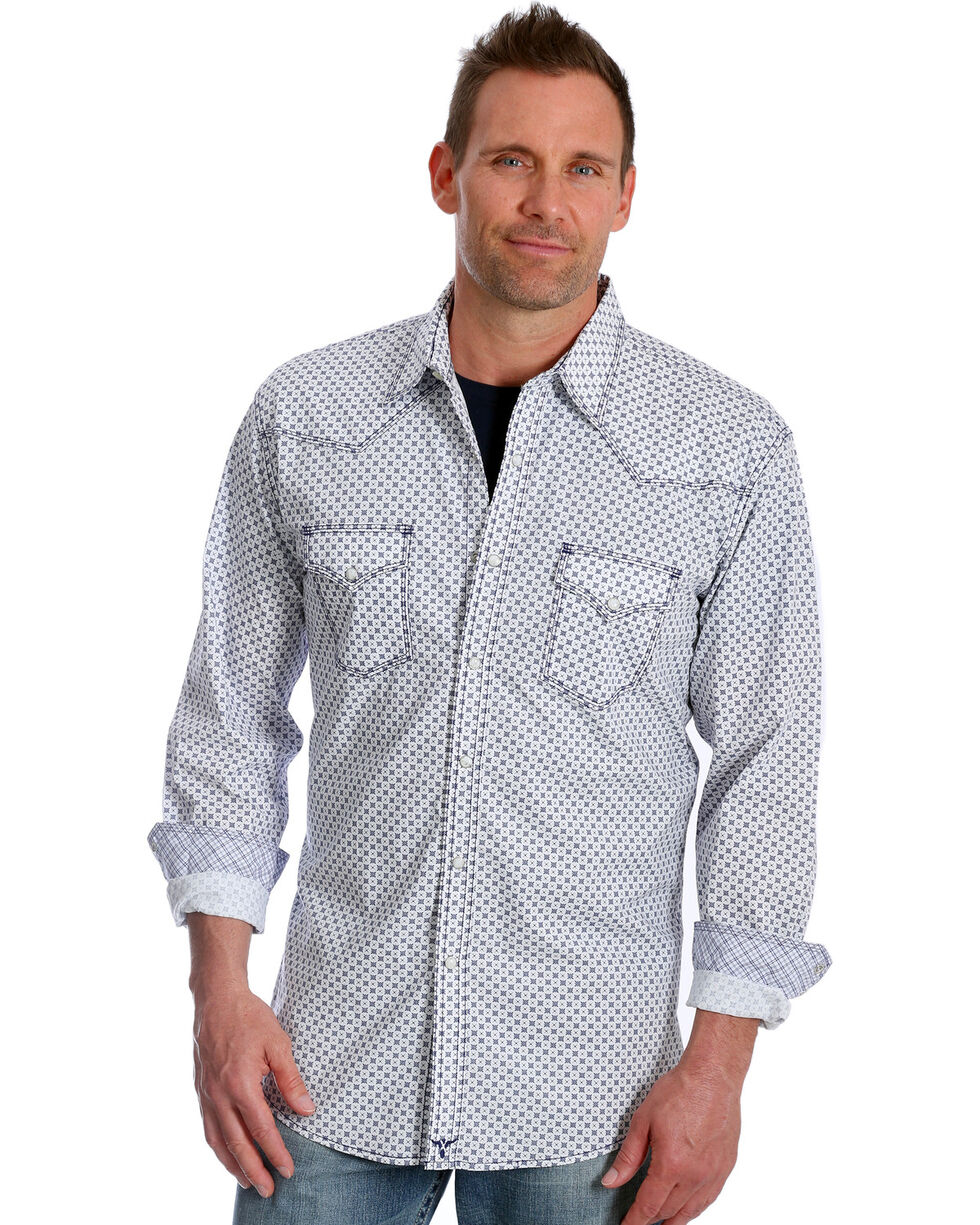 Wrangler Men's Navy Print 20X Advanced Comfort Competition Shirt - Tall, Navy, hi-res