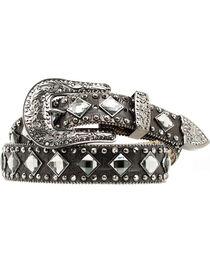 Nocona Croc Print Diamond Studded Belt, , hi-res
