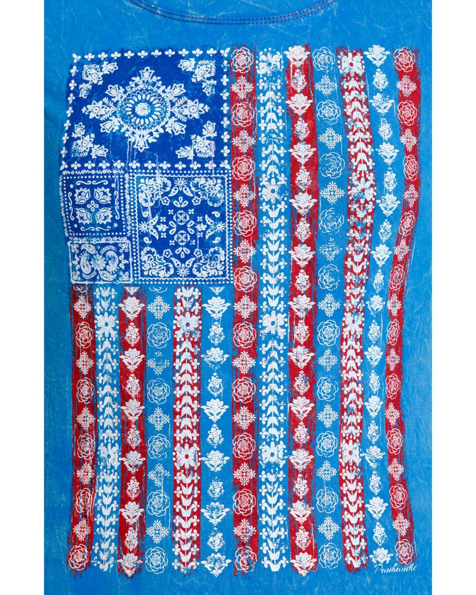 Panhandle Women's American Flag Short Sleeve Shirt , Blue, hi-res