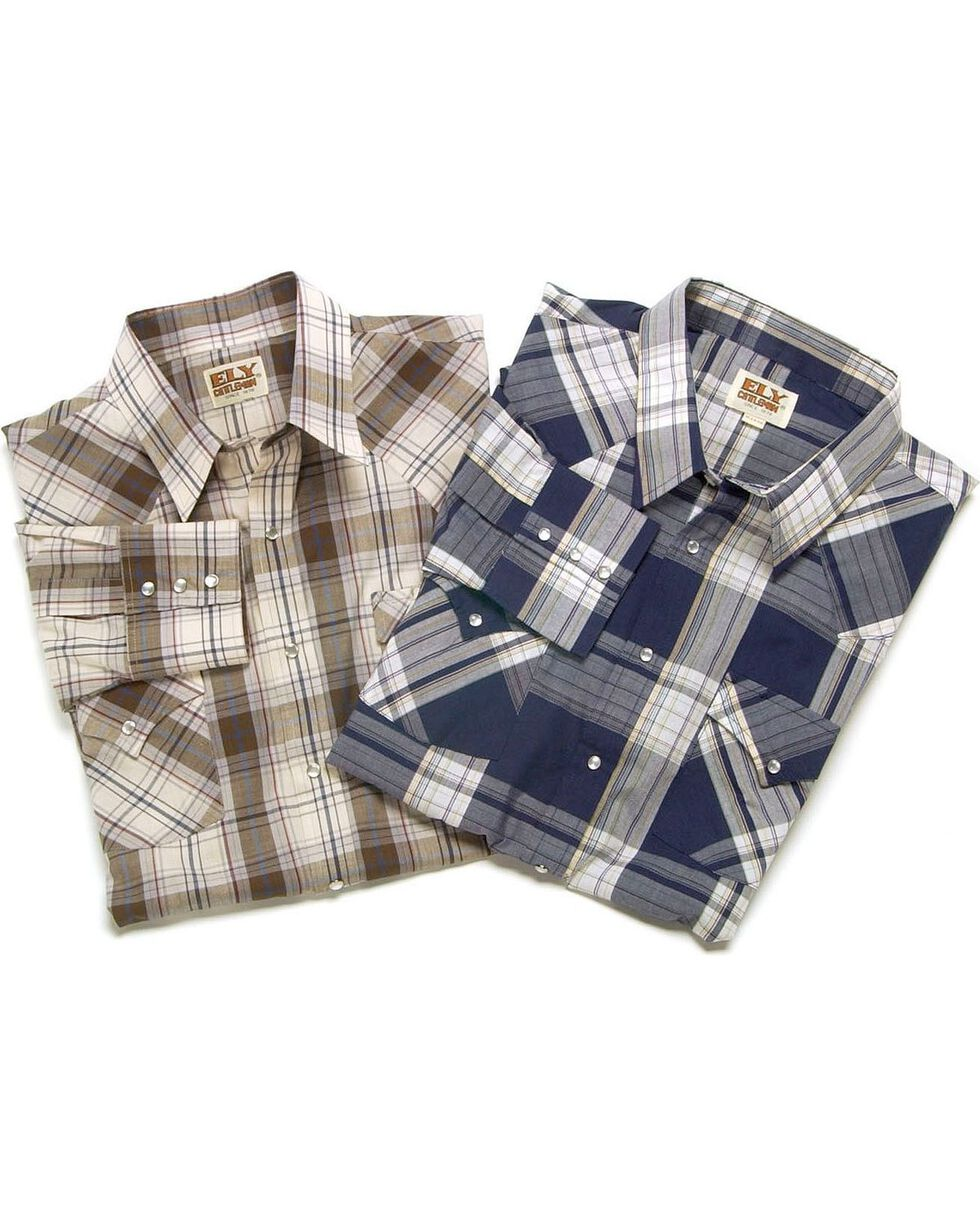 Ely Cattleman Men's Plaid Assorted Long Sleeve Western Shirt, Plaid, hi-res
