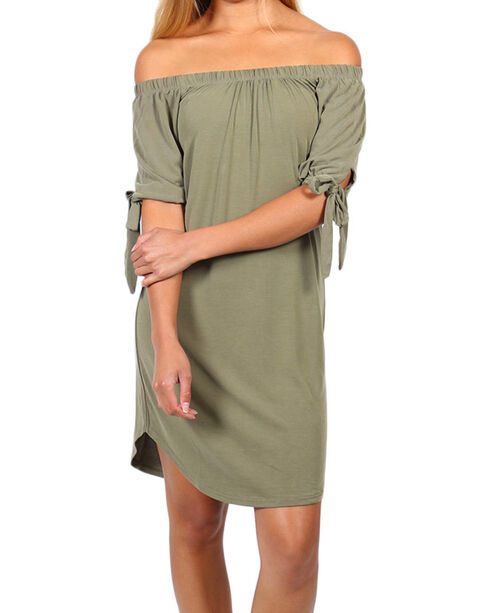 Derek Heart Women's Tie-Up Off the Shoulder Dress, Olive, hi-res