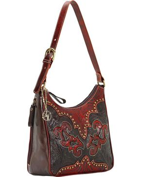 American West Women's Annie's Secret Zip Top Shoulder Bag, Black, hi-res