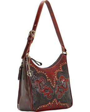 American West Women's Annie's Secret Zip Top Shoulder Bag, Black, hi-res