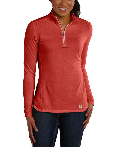 Carhartt Women's Rose Force Performance Quarter-Zip Shirt , Red, hi-res