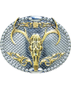 AndWest Men's Two-Tone Oval Elk Skull Belt Buckle, Two Tone, hi-res
