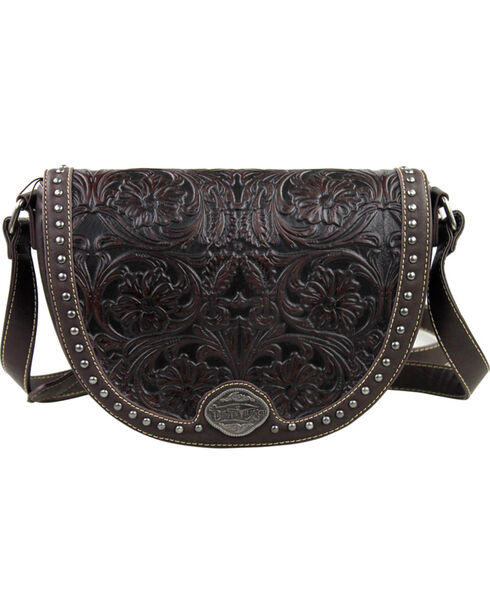 Montana West Trinity Ranch Coffee Tooled Design Messenger Bag, Brown, hi-res