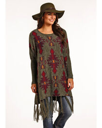 Powder River Outfitters Women's Aztec Jacquard Poncho, , hi-res