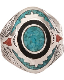 Silver Legends Women's Turquoise and Coral Southwestern Ring , , hi-res