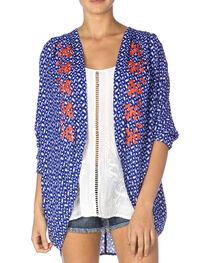 Miss Me Women's Blue & Coral Sheer Kimono, , hi-res