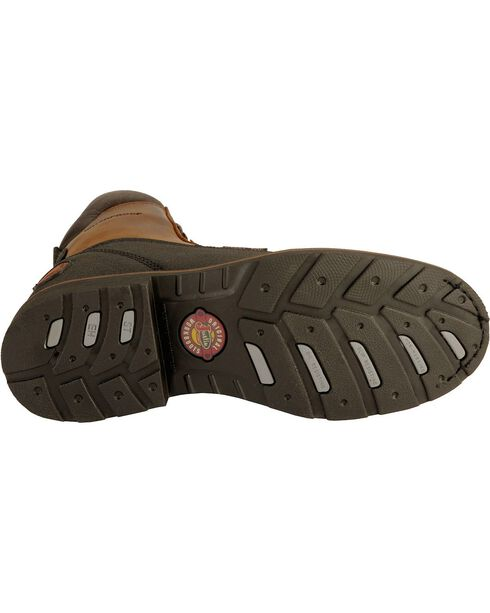 "Justin Men's 8"" Black Tec-Tuff Steel Toe Lace-Up Work Boots, Black, hi-res"
