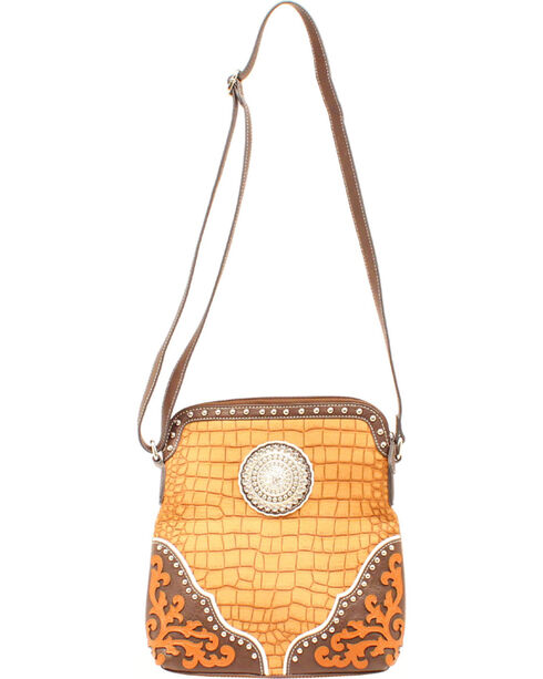 Blazin' Roxx Women's Rhinestone Medallion Gator Crossbody, Tan, hi-res