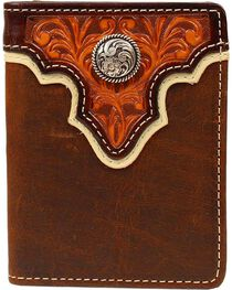 Ariat Tooled Overlay Concho Bi-fold Wallet, , hi-res