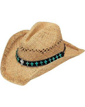 Blazin Roxx Faux Turquoise Cross Concho Band Raffia Straw Cowgirl Hat, Natural, hi-res