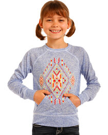 Rock & Roll Cowgirl Girls' Aztec Graphic Pullover, , hi-res