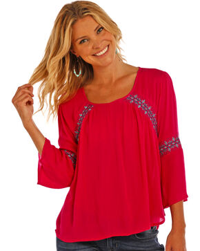 Rock & Roll Cowgirl Women's Peasant Top, Hot Pink, hi-res