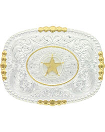 Montana Silversmiths Men's Two Tone Pioneer Portrait Concho Star Buckle, , hi-res