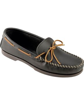 Men's Minnetonka Camp Moccasins - XL, Black, hi-res