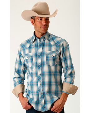 Roper Men's Blue Lagoon Ombre Long Sleeve Western Snap Shirt, Blue, hi-res