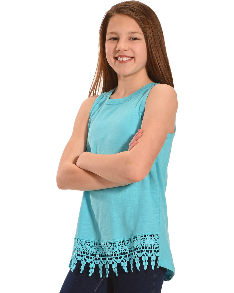 Silver Girls' Sea Lace Hem Tank | Tuggl
