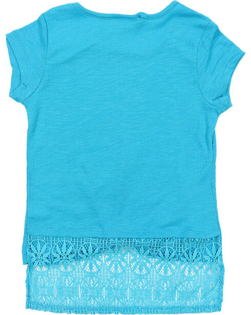 Self Esteem Girls' Lace Trim Shirt and Patterned Scarf Set, Turquoise, hi-res