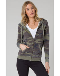 Z Supply Women's Green Camo Zip Hoodie , , hi-res