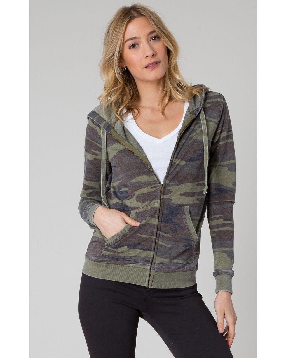 Z Supply Women's Green Camo Zip Hoodie , , hi-res