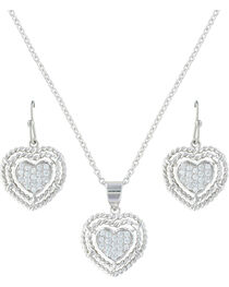 Montana Silversmiths Women's Roped My Heart Jewelry Set , , hi-res