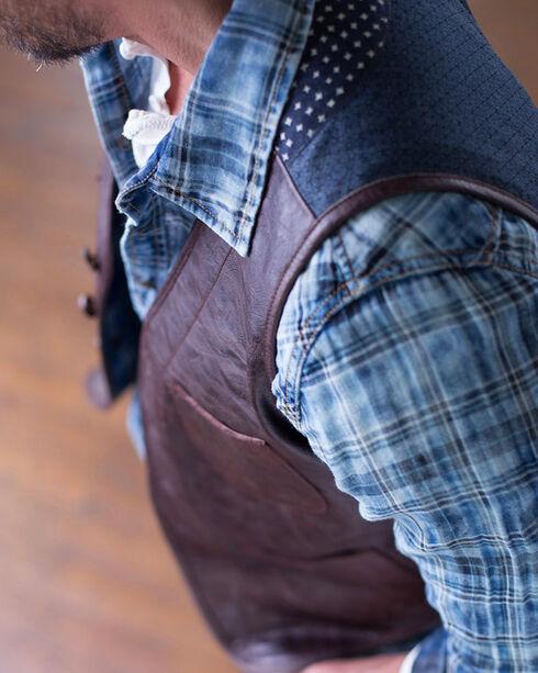 Ryan Michael Men's Leather & Indigo Print Vest, Chestnut, hi-res