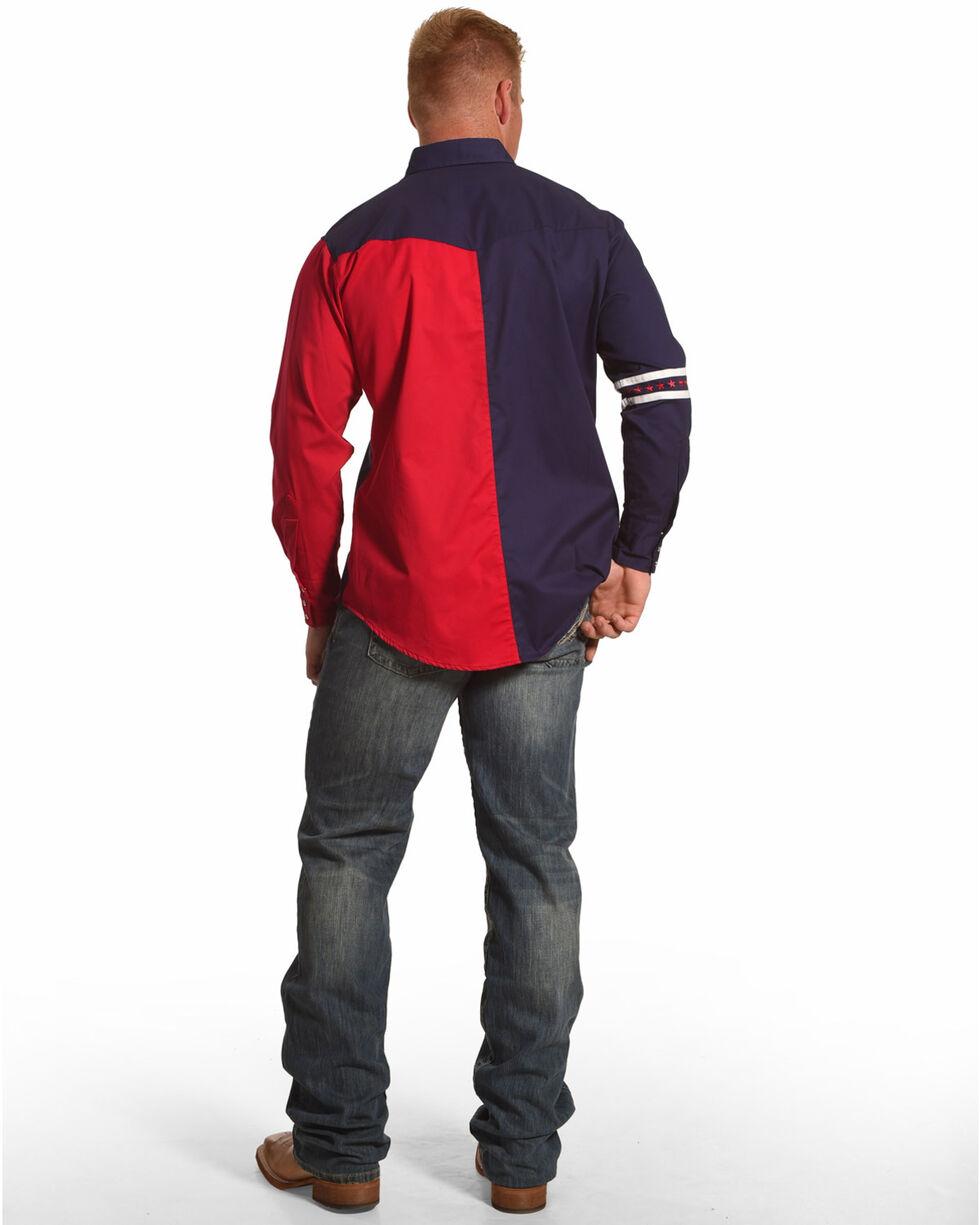 Ely Cattleman Men's Americana Colorblock Long Sleeve Western Shirt, Blue, hi-res
