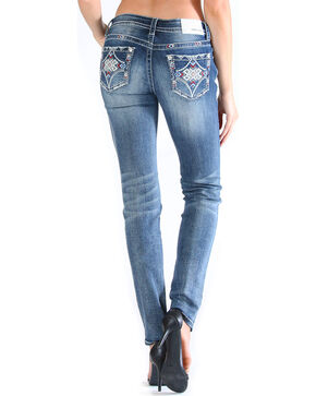 Grace in LA Women's Tribal Pocket Jeans - Skinny , Medium Blue, hi-res